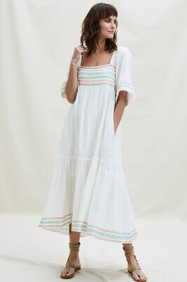 Aspiga Gracie Embr Org Cotton Maxi Dress Ecru
