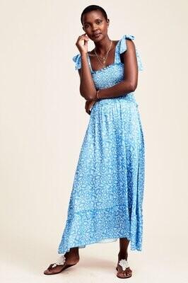 Aspiga Alexa Satin Smocked Midi Dress Blue