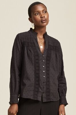 Aspiga Carrie Org Cotton  Dobby Lace Blouse Black