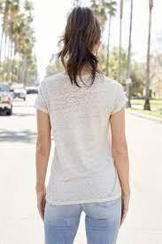 Venti 6 Mineral Wash Linen V Neck T Shirt