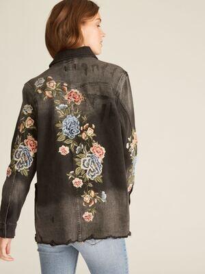 Driftwood Washed Black Embroidered Jean Jacket