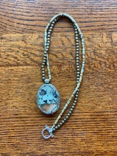 Repousse Stone & Metal Bead Toggle Necklace