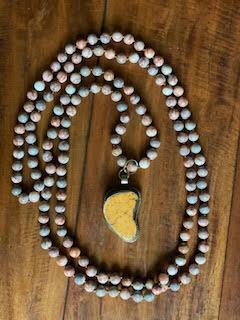 Orange Turquoise Gemstone Doubled Necklace