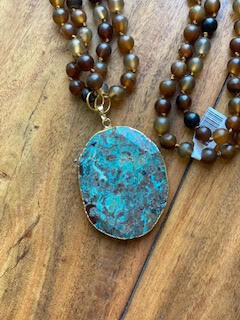 Genuine Stone Hand-Knotted Necklace with Multi Pendant