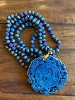 Yin Yang Carved Blue Gold Pendant Ombre Metallic Necklace