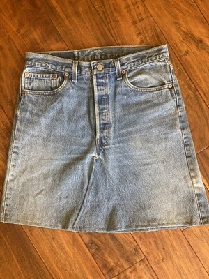 Junkyard Levi's RE-Worked Upcycled Denim Button fly Skirt (1) GENUINE Vintage Pre-1997
