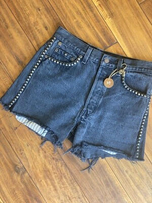 Junkyard Levi's RE-Worked Upcycled Black Denim Button fly (2) GENUINE Vintage Pre-1997 Shorts with Studs 29 Made in the U.S.A.