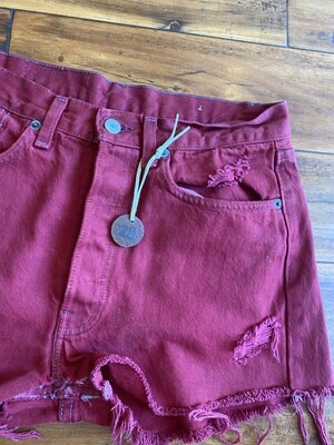 Junkyard Levi's RE-Worked Upcycled Dyed Claret Red Denim Button fly (3) GENUINE Vintage Pre-1997 Shorts 28