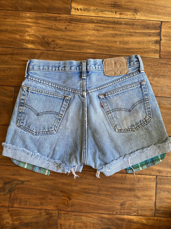 Junkyard Levi's RE-Worked Upcycled Stonewashed Denim Button fly (4) GENUINE Vintage Pre-1997 Shorts 26