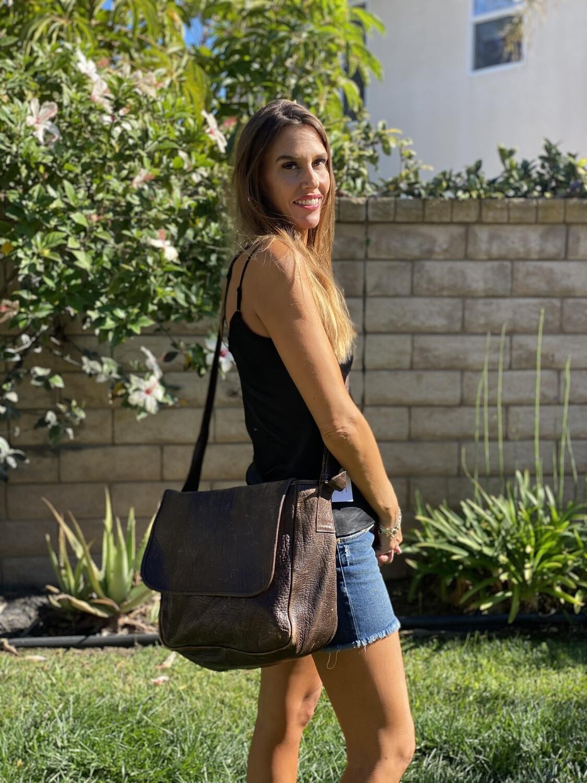 Milan Franeta Rustic Laptop Leather Messenger Tote Bag Brown