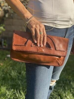 Milan Franeta Cognac Brown Whipstitch Clutch Handbag