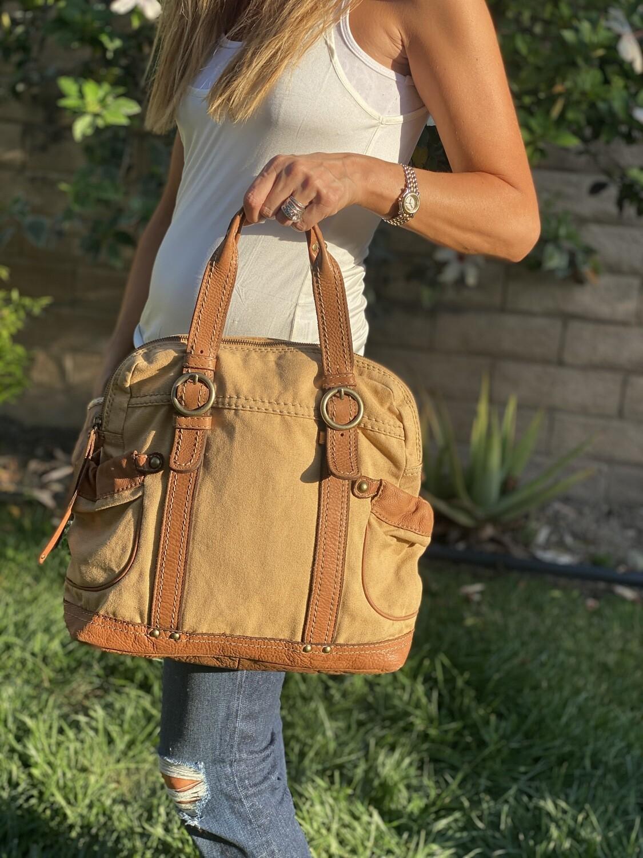 Sandast Leather & Vintage Canvas Tote Handbag