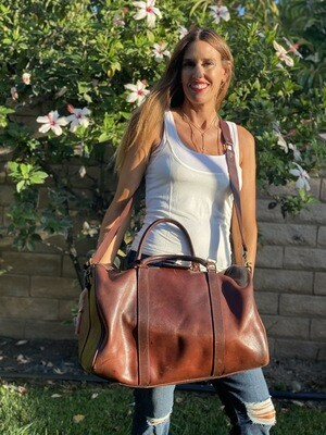 Sandast Cognac Leather Duffle Tote with Handle