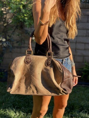 Milan Franeta Leather & Vintage Canvas Duffle Tote Unisex Made in the USA