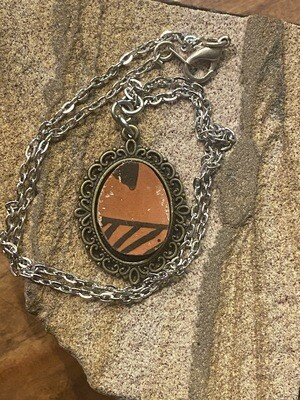 Ancient Ming Pottery Shard Iolite Necklace