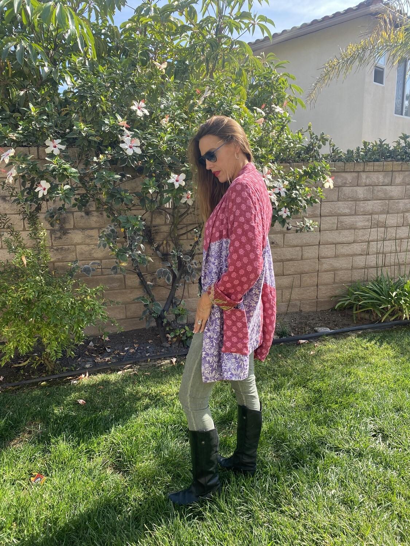 "ESIAAM ""The Aubrey"" (2) Kantha Sari Recycled Quilt Jacket, Large"
