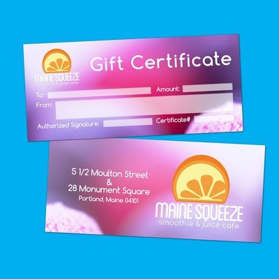 Maine Squeeze Gift Certificate