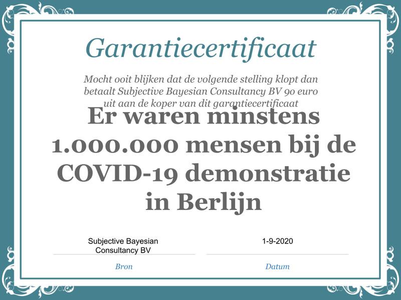 Stelling: Er waren minder dan 1.000.000 mensen bij de COVID-19 demonstratie in Berlijn