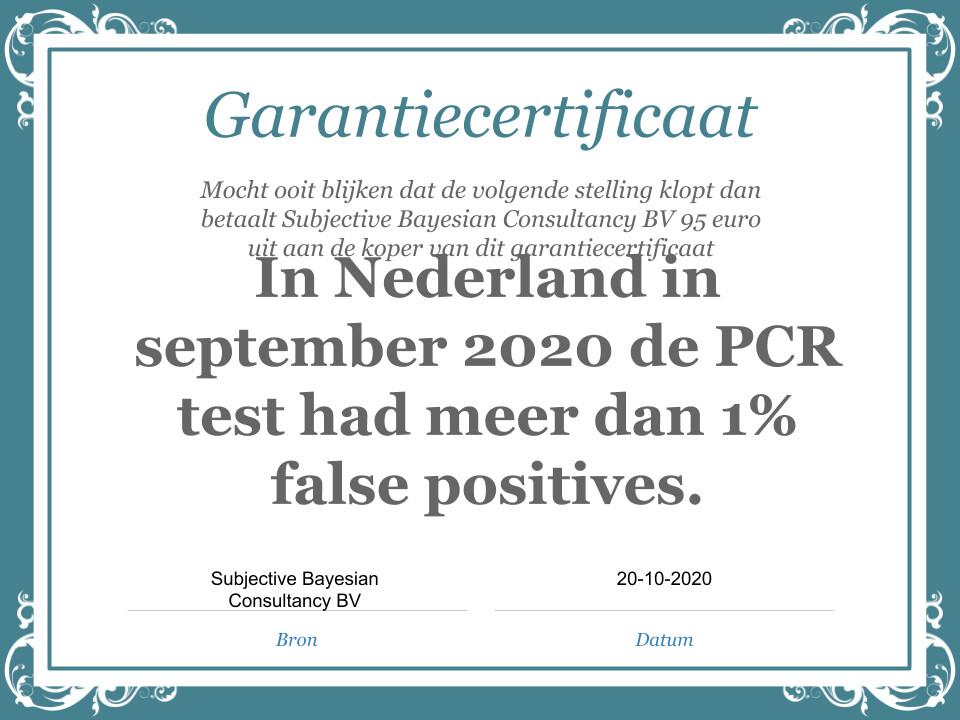 Stelling: In Nederland in september 2020 de PCR test had minder dan 1% false positives