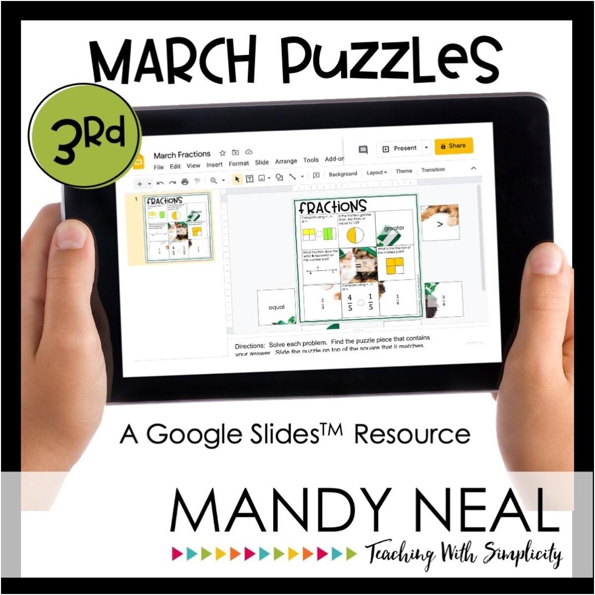 3rd Grade March Digital Math Puzzles