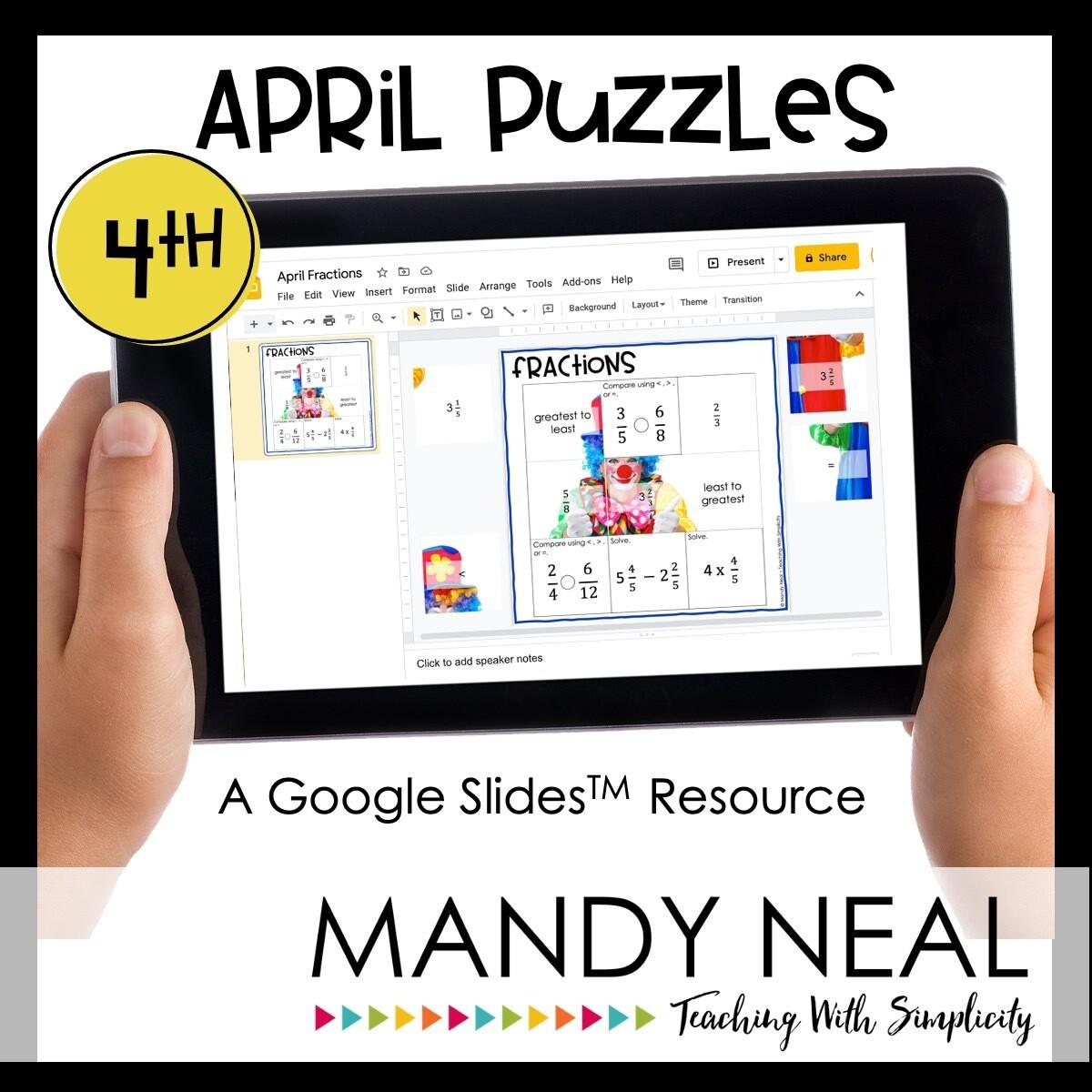4th Grade April Digital Math Puzzles