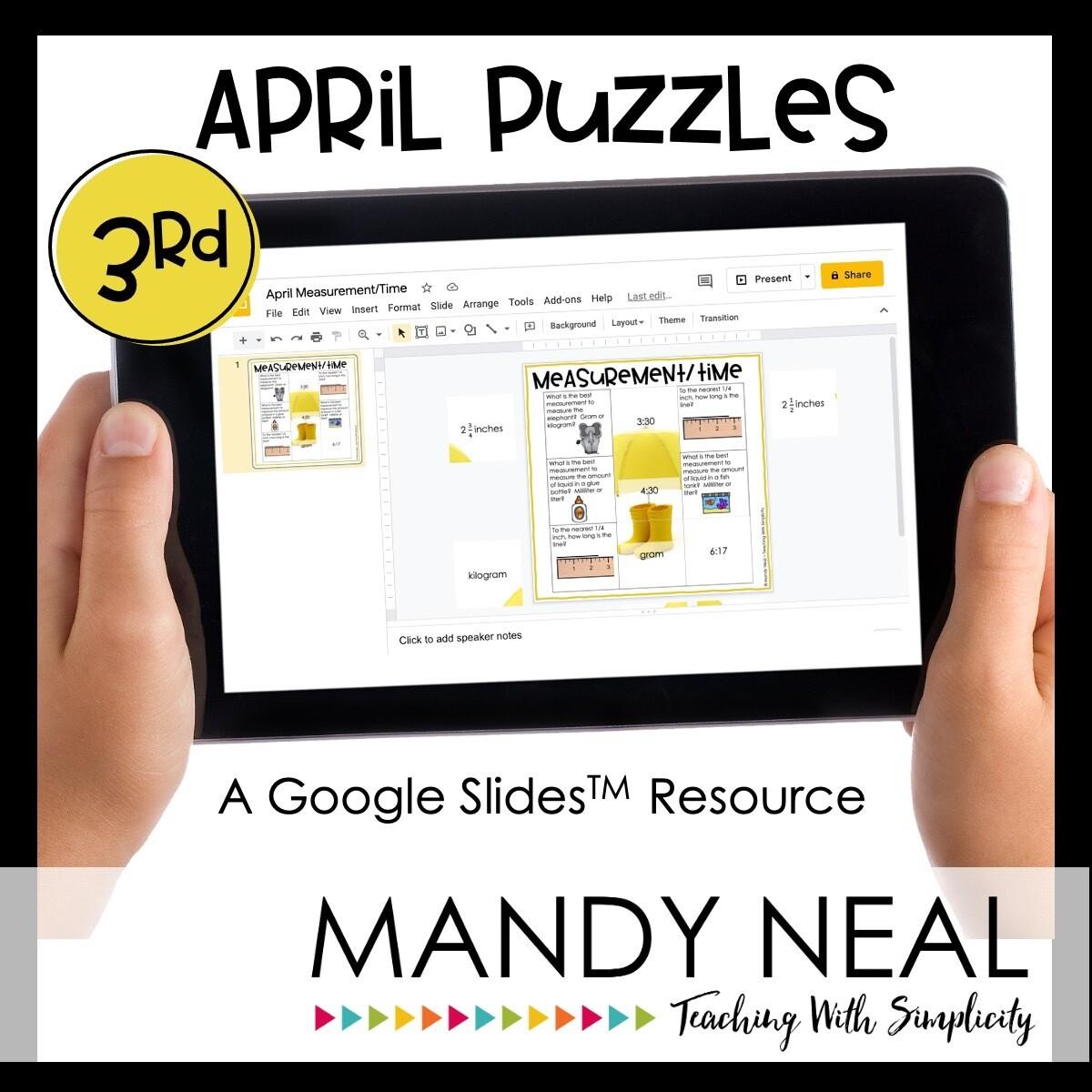 3rd Grade April Digital Math Puzzles