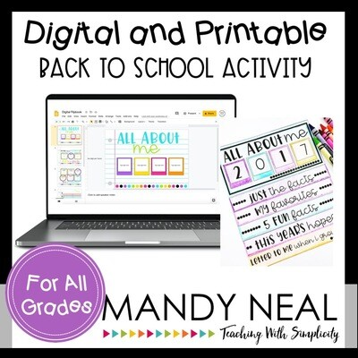Digital All About Me Back Flipbook for Back to School