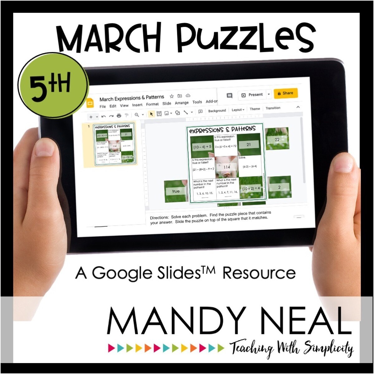 5th Grade March Digital Math Puzzles