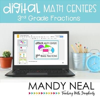 Third Grade Digital Math Centers Fractions