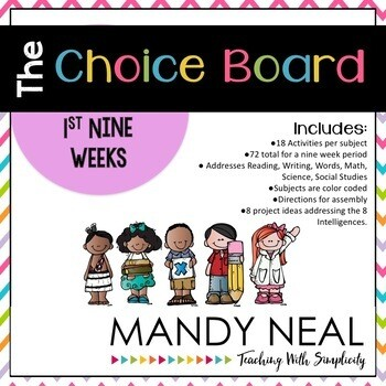The Early Finisher's Choice Board-1st Nine Weeks