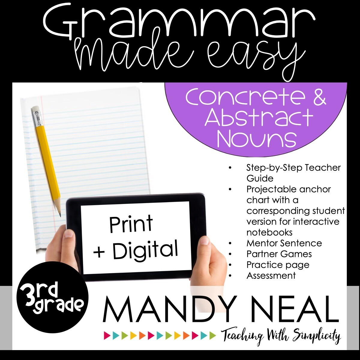 Print + Digital Third Grade Grammar (Concrete and Abstract Nouns)