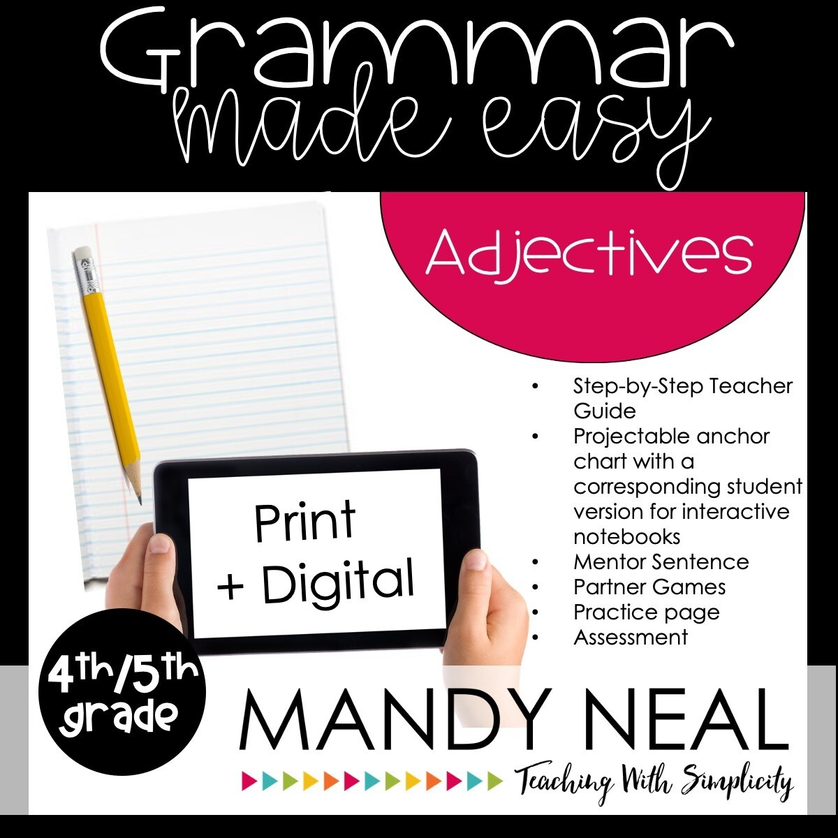 Print + Digital Fourth and Fifth Grade Grammar Activities (Adjectives)