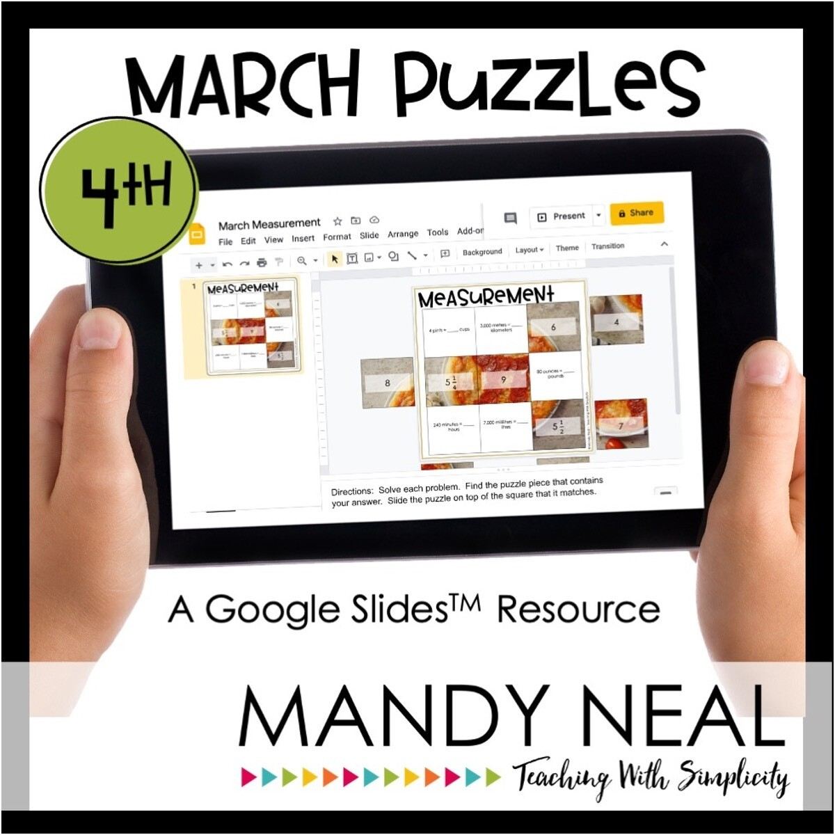 4th Grade March Digital Math Puzzles