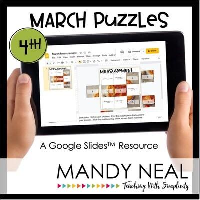 4th Grade March Digital Math Puzzles