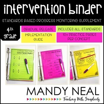 4th Grade Math RTI Intervention Binder