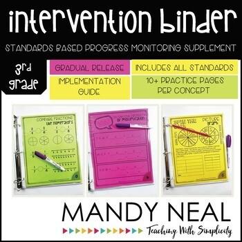 3rd Grade Math RTI Intervention Binder