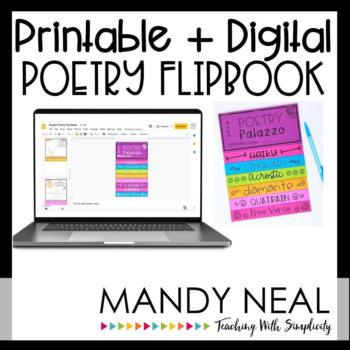 Printable + Digital Poetry Writing Flipbook