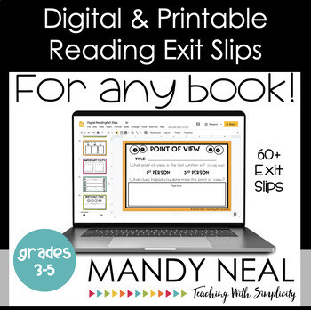 Digital and Printable Reading Exit Slip | Exit Tickets | Distance Learning