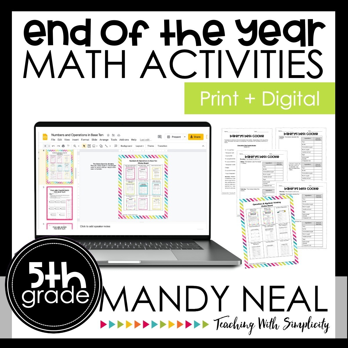 Printable + Digital Fifth Grade End of the Year Math Activities