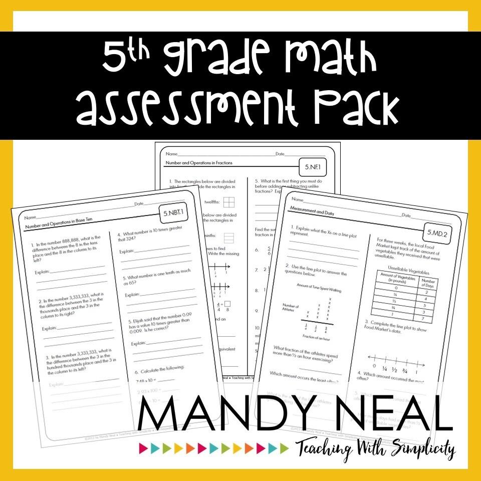 Common Core Assessment Pack-Math Grade 5