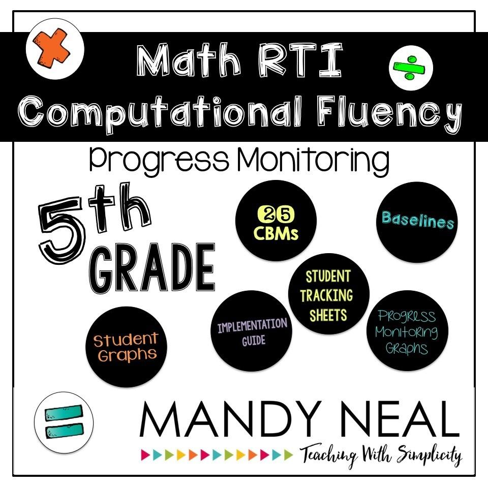 5th Grade Math RTI Computational Fluency Progress Monitoring