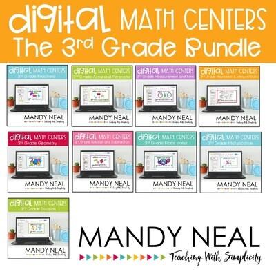 Third Grade Digital Math Centers Bundle