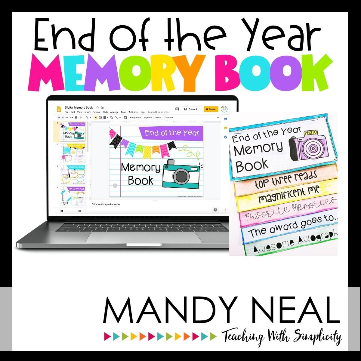 Digital & Printable End of the Year Memory Book