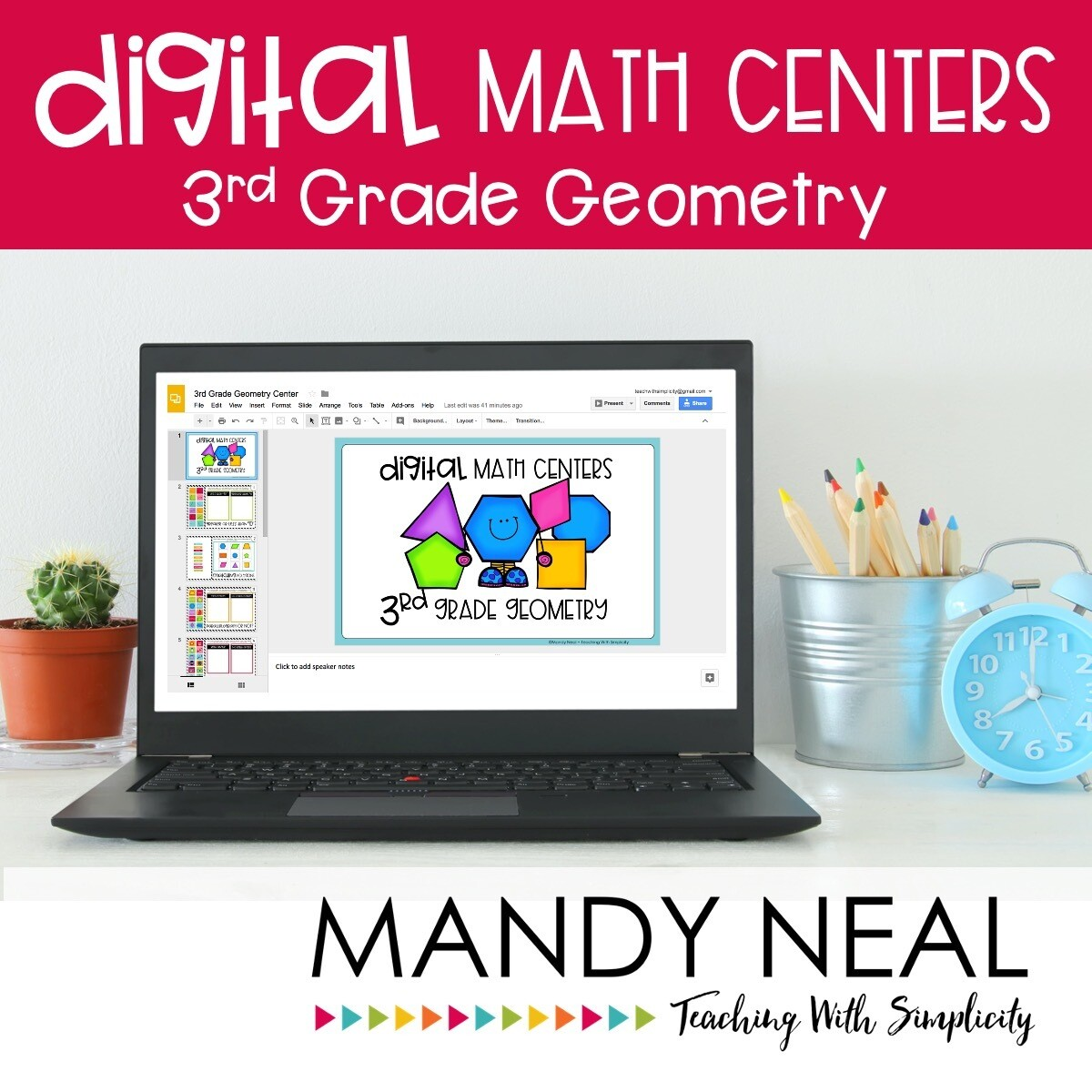 Third Grade Digital Math Centers Geometry