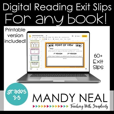 Digital and Printable Reading Exit Slip | Exit Tickets