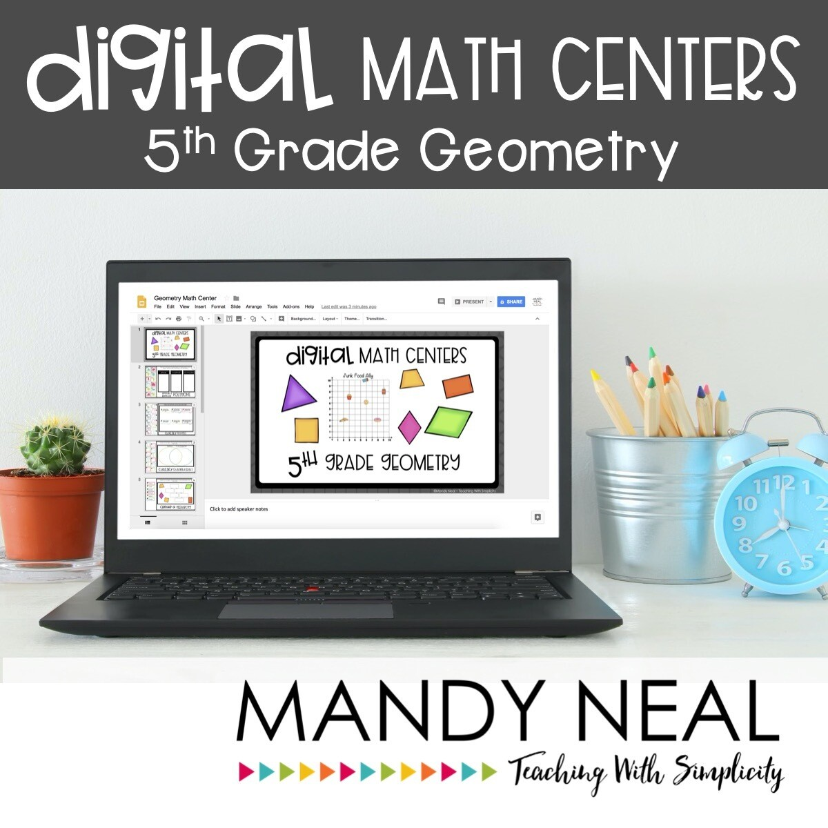 Fifth Grade Digital Math Centers Geometry   Distance Learning