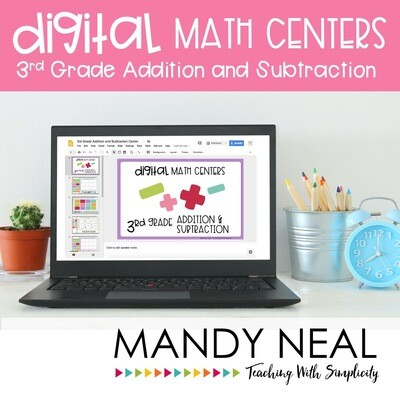 Third Grade Digital Math Centers Addition and Subtraction