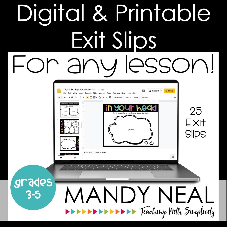 Digital & Printable Exit Slips  | Exit Tickets
