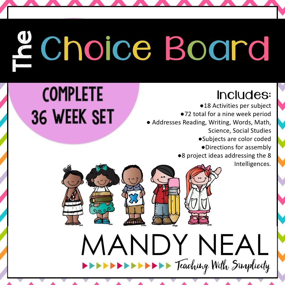 The Early Finisher's Choice Board (Complete 36 Week Set)