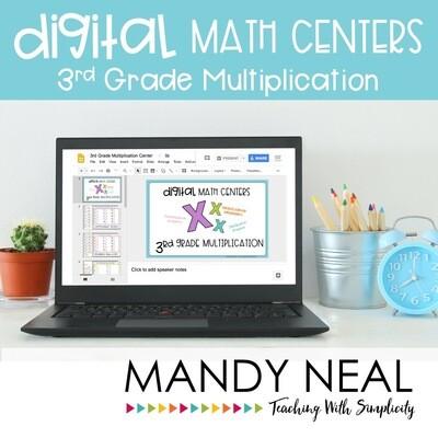 Third Grade Digital Math Centers Multiplication